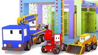 Die Autowäsche - Lerne mit den kleinen Truck | Planierraupe, Bagger, Educational cartoon für Kinder