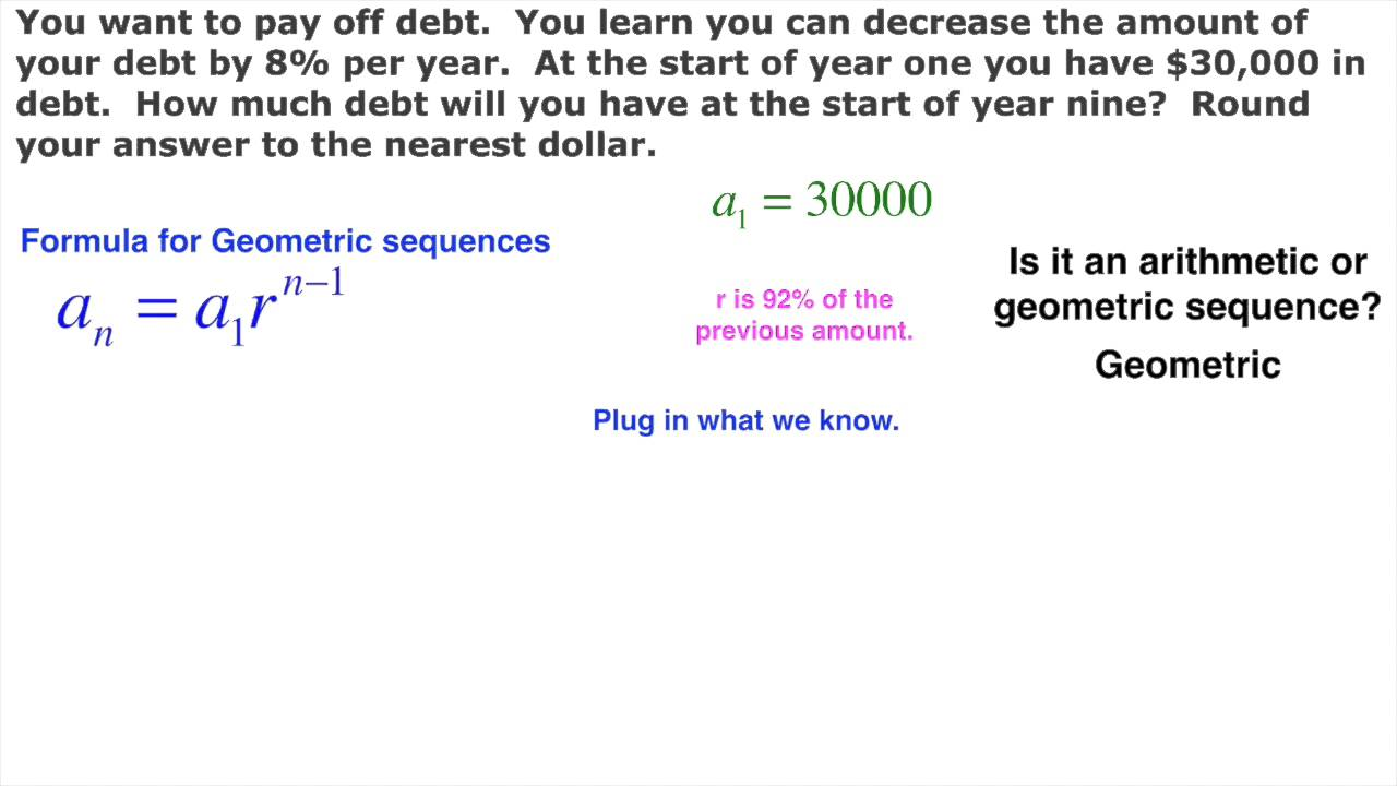 Geometric Sequence Real Life Paying Off Debt