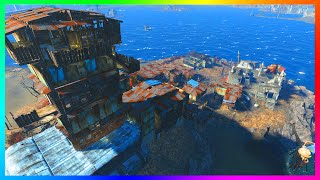 FALLOUT 4 BASE BUILDING GAMEPLAY - Ultimate Island Watch Tower & Settlement! (Fallout 4)