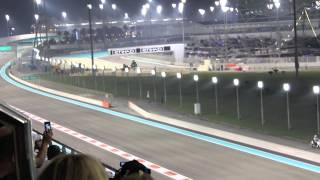 f1 2014 abu dhabi grand prix hulkenberg overtakes south grandstand upper yas marina circuit