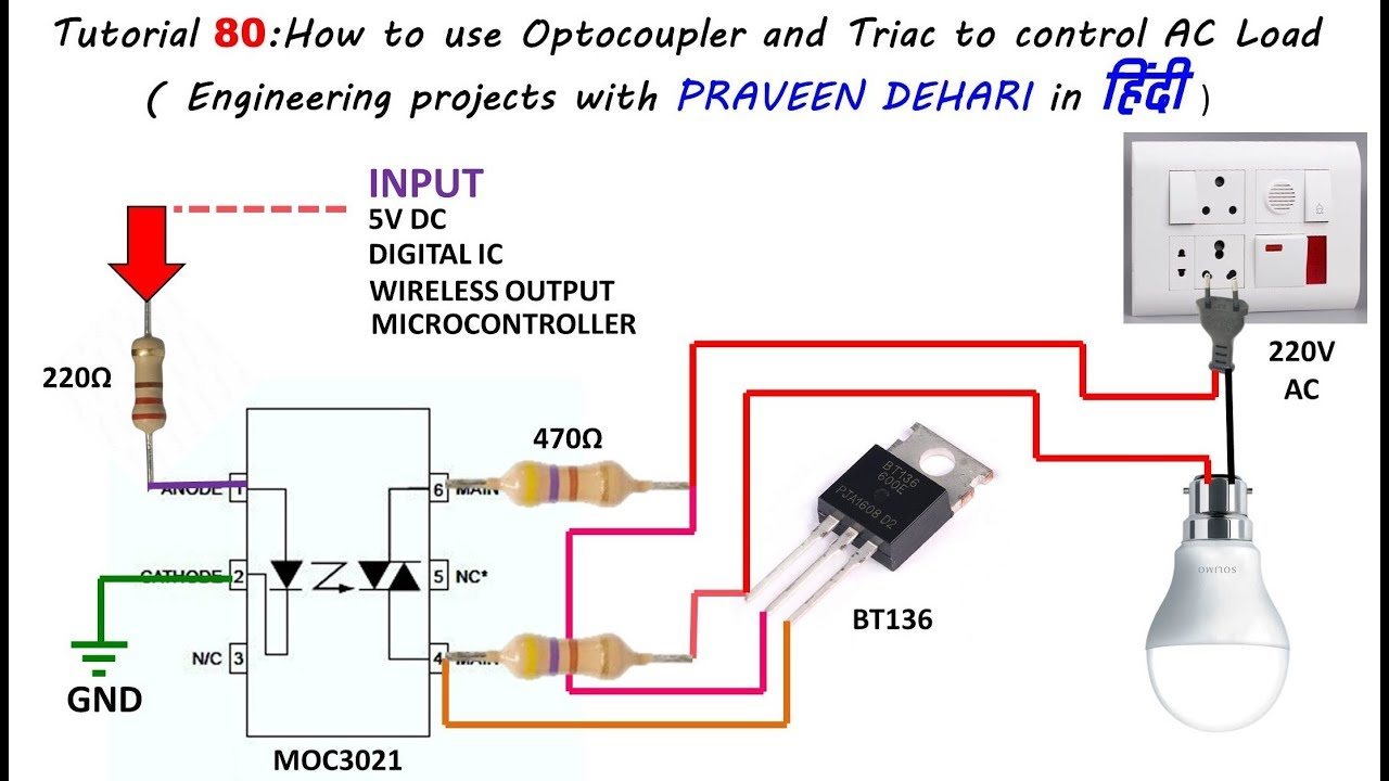 110 Volt Electric Motor Wiring Schematic How To Use Optocoupler And Triac To Control Ac Load