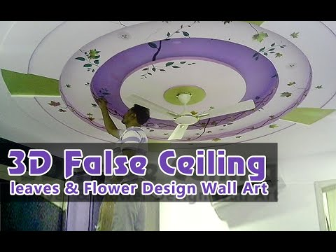 3D False Ceiling leafs & Flower Design Wall Art | False Ceiling Murals | Bedroom False CeilingDesign