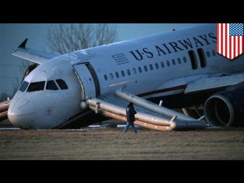 "US Airways plane ""crashes"" at Philadelphia international airport after nose gear collapse"