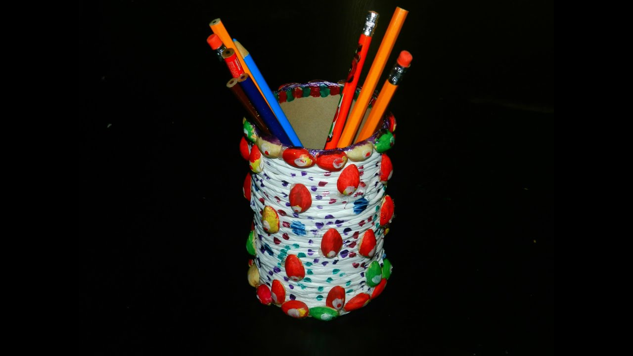 Simple kids crafts diy pen stand using reuse materials for Waste material craft work with bottles
