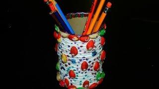 Recycled Diy: Pen/pencil Stand With Salt Tin, Plastic Bag & Pista Shells