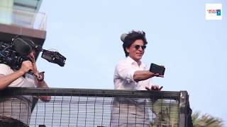 Shahruk Khan With Son Abram Khan Wishing Eid To Millions Of Fans Outside MANNAT
