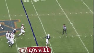 Alabama's Iron Bowl collapse finished with a 4th down incompletion after the QB crossed the line of