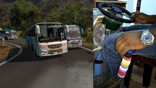 [ETS2 1.30] |MOONLIGHT| Hino AK 1JNon AC Coach bus| through the hilly road in |FREEPORT Map