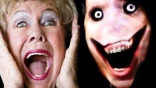 Попробуй не испугаться Challenge! Бабушка смотрит страшные видео!