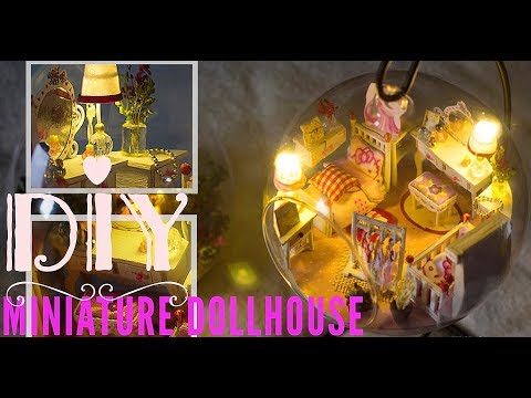 Miniature DollHouse Kit DIY Tutorial/in Glass Globe with Working Lights 3 Dream Princess Room
