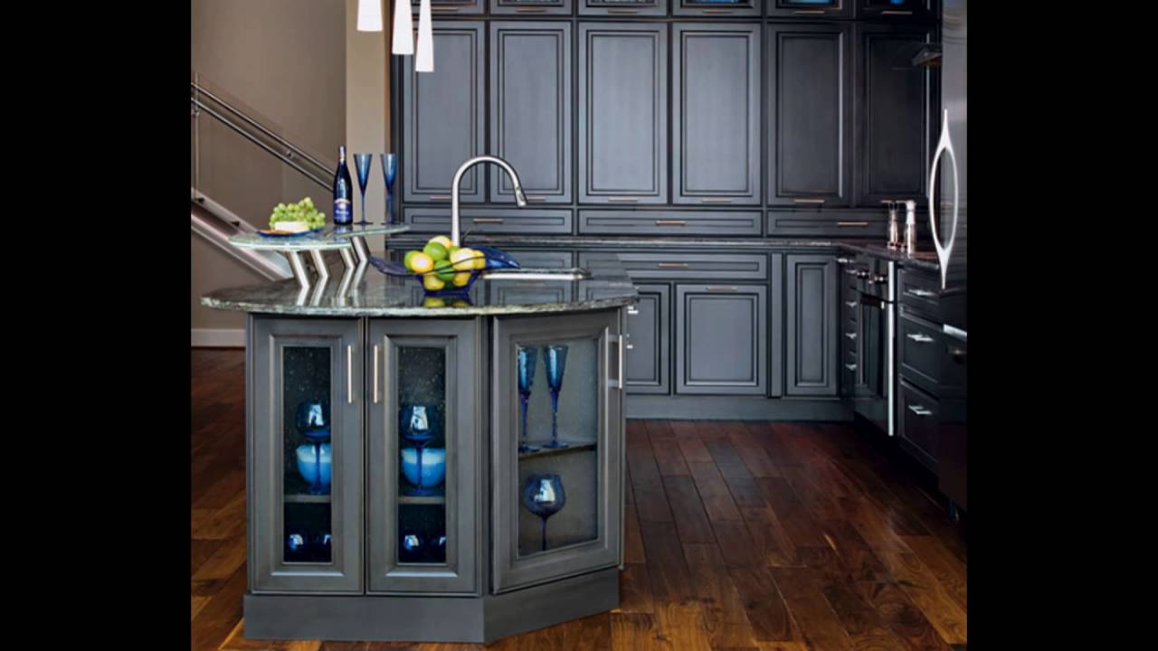 Dark gray kitchen cabinets youtube for Dark gray kitchen cabinets