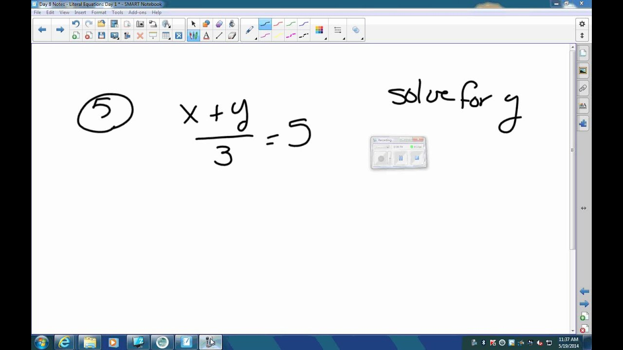 Literal Equations Practice Youtube