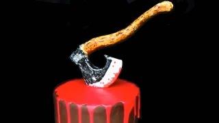 Фигурка топора. Торт на Хэллоуин. Как украсить торт. Сахарные фигурки. Украшение тортов видео.