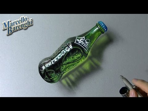 Drawing Time Lapse: a glass bottle of Sprite – hyperrealistic art