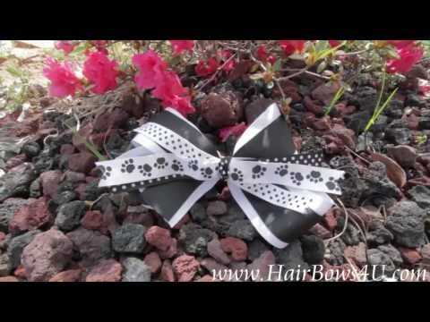 101 Dalmations Paw Prints Black and White Hair Bow - video demo