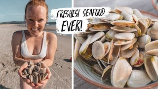 We Went CLAM DIGGING w/ New Zealand LOCALS! - Hunting & Preparing Tuatua 🇳🇿(Feat. Chasing a Plate)
