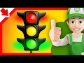 Traffic light for children. Handy Andy cartoon Colors traffic light. Vehicles for children.