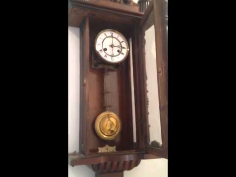 Antique Wooden Viennese Pendulum Wall Clock with Prancing ...