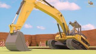 รถแม็คโคร 3D ขุดดิน สร้างบ้าน - อนิเมชั่นรถก่อสร้าง รถขุดดิน รถดั้ม รถโม่ปูน