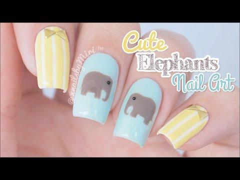 Cute Elephants Nail Art || using Twinkled T elephant sticker vinyls
