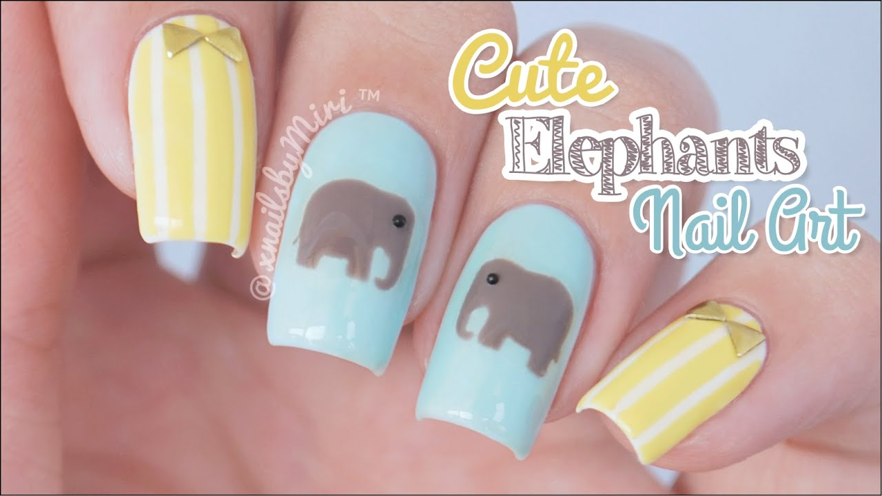 Cute Elephants Nail Art || using Twinkled T elephant sticker vinyls ...