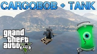 Grand Theft Auto V Challenges | CARGOBOB + TANK = AWESOME | DRIVING TANK OFF CHILIAD