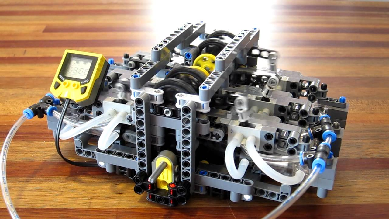 lego pneumatic engine - flat 6  boxer
