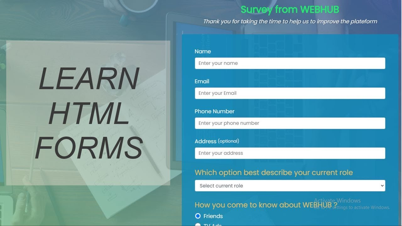 Forms | Survey Form using HTML and CSS