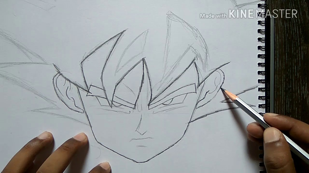 Drawing Of Goku S Face With Pencil Only Youtube