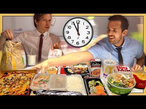 Hur mycket mat hinner man äta på en lunchrast?
