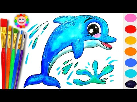 Thumbnail: How to Draw a DOLPHIN Sea Animals Coloring Page to Learn Colors for Children