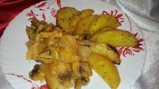 Капуста тушенная  в рукаве с картошкой и грибами. Постный рецепт