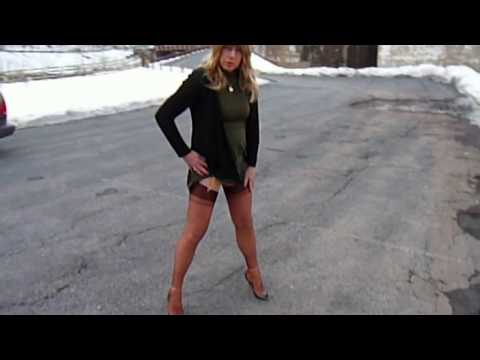Lily TG in Dark Beige Stockings and High Heels