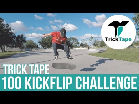 100 KICKFLIP CHALLENGE WITH TRICKTAPE (APPLY AND DESTROY)