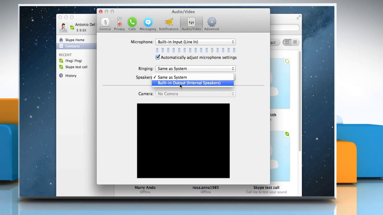 How to Configure headset, microphone or speakers on Skype® for Mac® OS X™