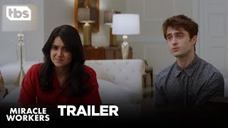 Miracle Workers premieres February 12 at 10:30/9:30c on TBS. The Heaven-set workplace comedy is based on Simon Rich's book What in God's name and stars Daniel Radcliffe, Steve Buscemi, Geraldine Viswanathan, and Karan Soni. #MiracleWorkers #TBS  SUBSCRIBE: http://bit.ly/TBSSub  Download the TBS App: http://bit.ly/1qBbkMW  About Miracle Workers: The first season of anthology series Miracle Workers will be a Heaven-set workplace comedy based on Simon Rich's book What in God's Name, starring Daniel Radcliffe, Steve Buscemi, Geraldine Viswanathan, and Karan Soni. Radcliffe will play Craig, a low-level angel responsible for handling all of humanity's prayers, and Steve Buscemi will play Craig's boss God, who has pretty much checked out and is ready to move on to his next project. To prevent Earth's destruction, Craig and fellow angel Eliza (Geraldine Viswanathan) must answer a seemingly unanswerable prayer: help two humans fall in love.  Miracle Workers is created by Man Seeking Woman creator Simon Rich and executive produced by Lorne Michaels and Andrew Singer of Michaels' Broadway Video, Simon Rich, Daniel Radcliffe and Steve Buscemi. Broadway Video produces the series in association with Turner's Studio T.  About TBS:   The home of The Last O.G., Angie Tribeca, Full Frontal with Samantha Bee, Conan, Wrecked, Search Party, The Detour, The Guest Book and American Dad.  Get more TBS:   Full Episodes: http://www.TBS.com/shows/   YouTube: http://www.YouTube.com/TBS   Twitter: https://Twitter.com/TBSNetwork Facebook: http://Facebook.com/TBSNetwork   Instagram: https://Instagram.com/TBSNetwork    Miracle Workers: The Stakes are Raised [TRAILER #2] | TBS [VIDEO LINK]  TBS http://www.YouTube.com/user/TBS