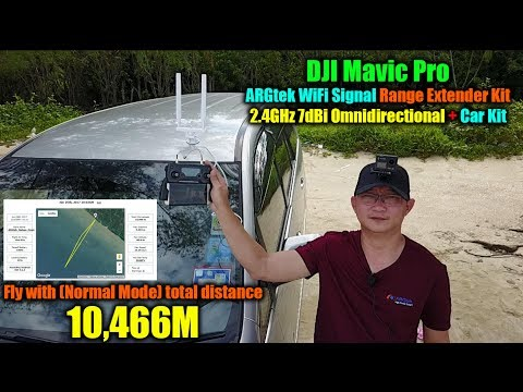 DJI Mavic Pro fly using ARGtek Car Kit with 2.4GHz 7dBi Omnidirectional Total Distance 10,466M