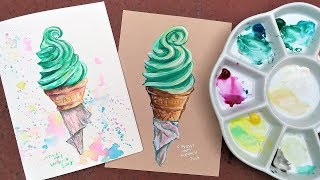 Watercolor on Toned vs White Paper // Beginner friendly ice cream real time tutorial!