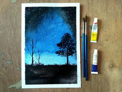 Simple Watercolor Moonlight Painting Demonstration