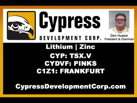 Cypress Begins Drilling on Clayton Valley Lithium Project in Nevada. Don Huston (CYP TSX V)