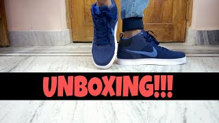 unboxing of nike men navy liteforce III mid-top sneakers. |everything visible|