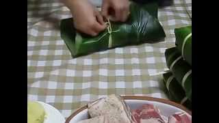 Hướng dẫn Cách Gói bánh chưng không cần khuân - Cách gói bánh tết nguyên đán Ất Mùi 2015
