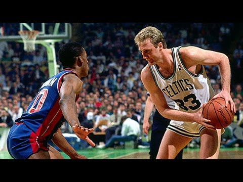 Larry Bird vs Detroit Pistons 1987 Game 5 (Bird Steals it!)