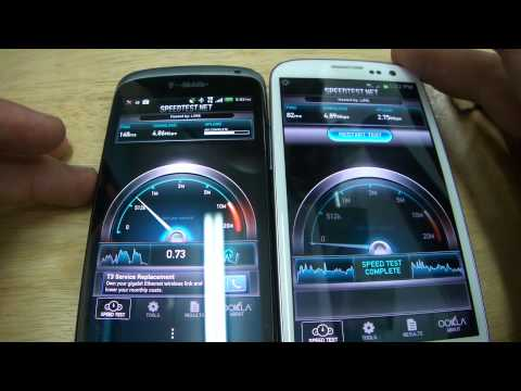 Att Samsung Galaxy S3 4G LTE vs T-Mobile HTC One S 4G HSPA+  - Speed Test Showdown!
