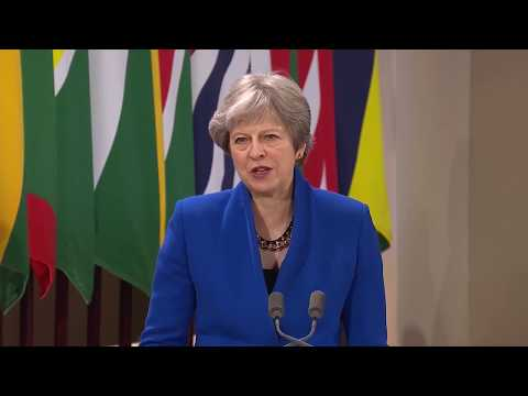 Prime Minister Theresa May delivers her speech at the formal opening of CHOGM 2018