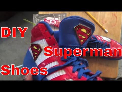 DIY custom Superman Jordan's wrestling shoes adidas can also do cleats