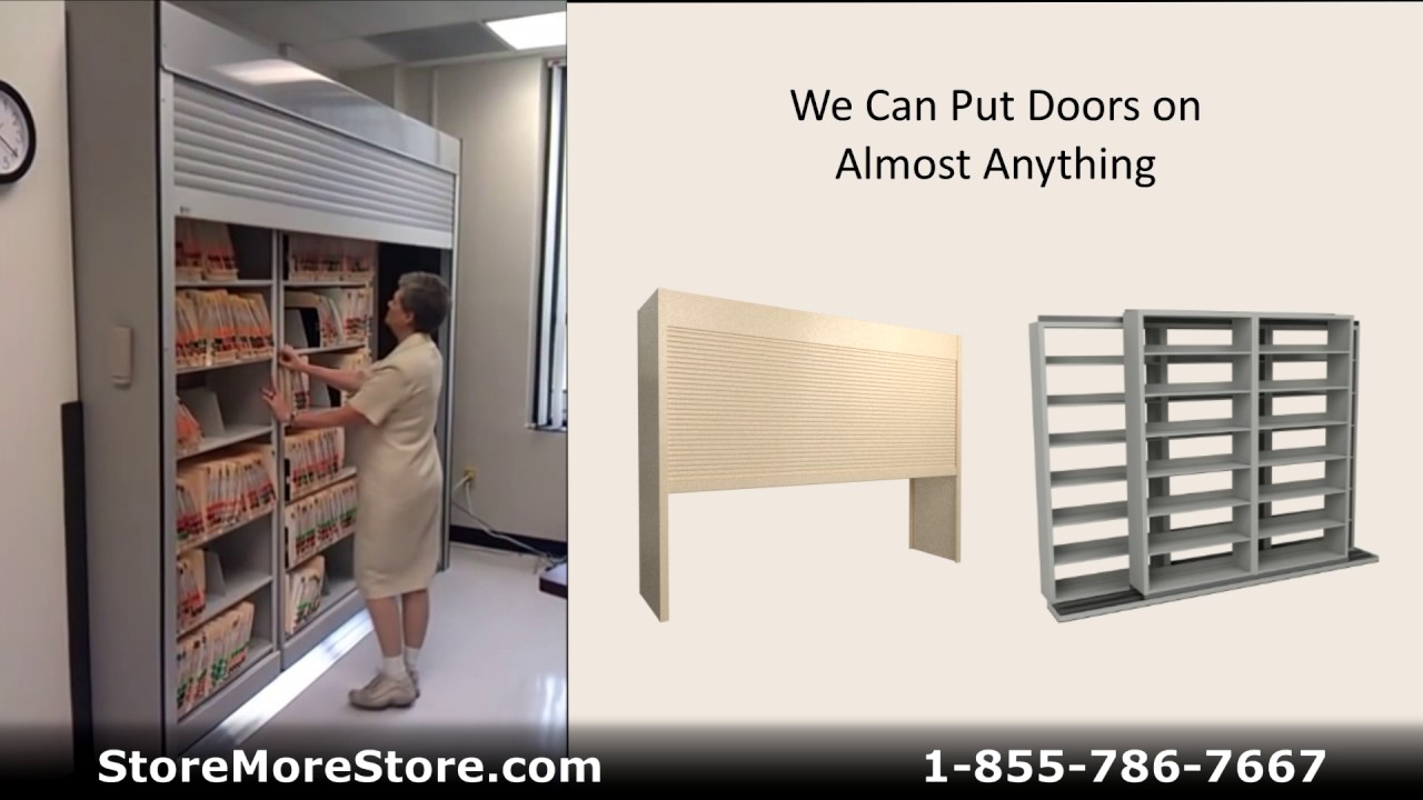 Roll Up Locking Doors On Sliding Shelving Units Create Compact Secure  Storage