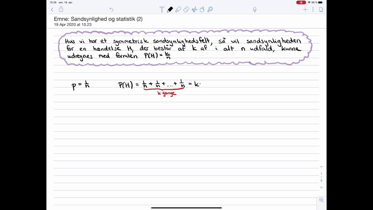 Matematik C-niveau Eksamen: Sandsynlighedsregning: Formel for udregning af sandsynlighed