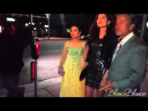 Blanca Blanco, Ha Phuong and John Savage leaving Mastro