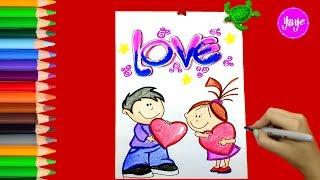 IDEAS PARA HACER TARJETAS DE AMOR-How To draw a Valentines card